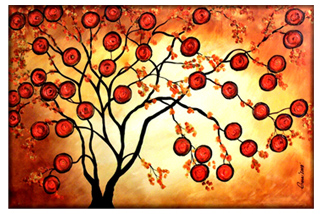 orange tree painting